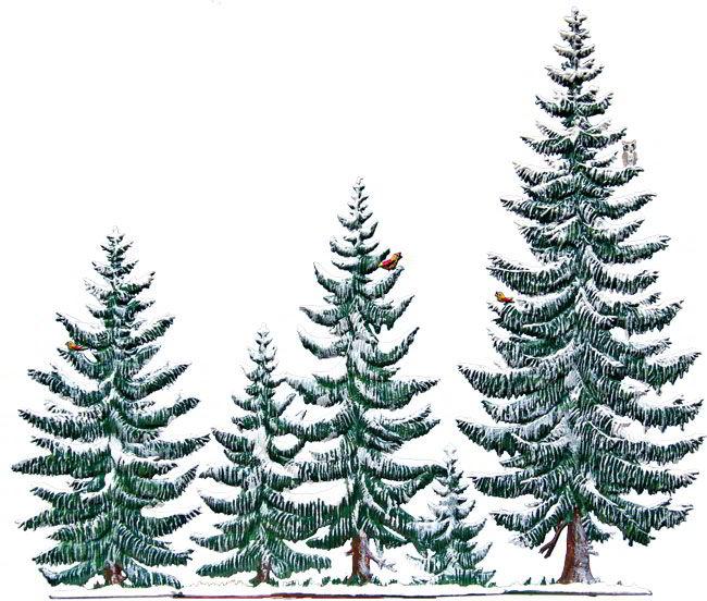 Zinnfigur Tannenwald im Winter, 5 Bäume, zum Stellen
