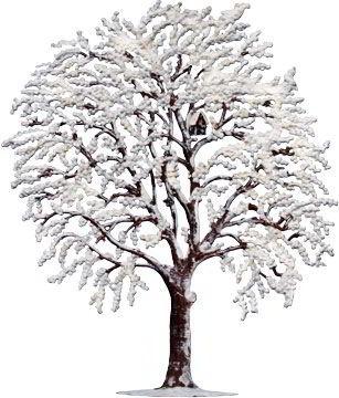 Zinnfigur Kirschbaum im Winter, zum Stellen