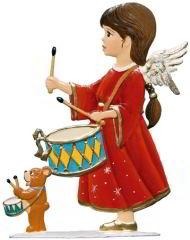 Zinnfigur Engel mit der Trommel, zum Stellen
