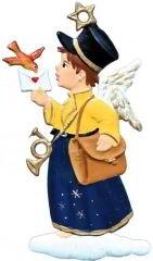 Zinnfigur Engel Briefbote, zum Hängen