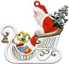 Zinnfigur Nikolaus im Schlitten, zum Hängen