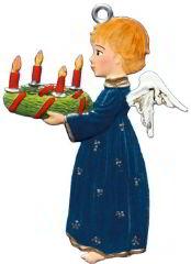 Zinnfigur Engel mit Adventskranz