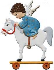 Zinnfigur Engel auf Hoppepferd