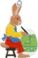 Zinnfigur Hase sitzend mit Ei, zum Hängen