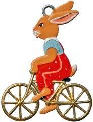 Zinnfigur Hase auf Fahrrad, zum Hängen