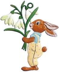 Zinnfigur Hase mit Blumenstrauss, zum Hängen
