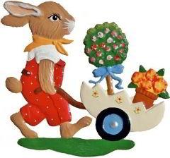 Zinnfigur Hase, kleiner Gärtner, zum Hängen