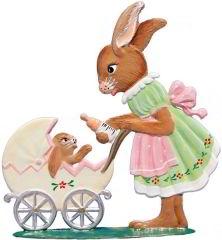 Zinnfigur Hasenmäd. mit Kinderwagen, zum Stellen