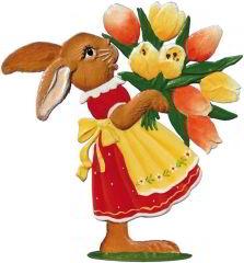 Zinnfigur Hase mit Tulpen, zum Stellen