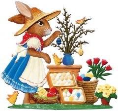 Zinnfigur Hasenmarktfrau Ostereierstand, zum Stellen