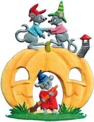 Zinnfigur Wilhelm Schweizer Halloweenkürbis mit Mäuse, zum Stellen