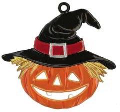 Zinnfigur Wilhelm Schweizer Halloweenkürbis mit Hut, zum Hängen