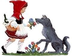 Zinnfigur Wilhelm Schweizer Rotkäppchen und der Wolf zum Stellen, zum Stellen