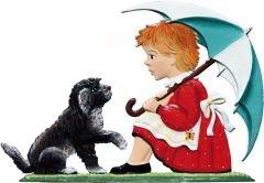 Zinnfigur Wilhelm Schweizer Mädchen mit Schirm und Hund, zum Stellen