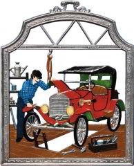 Zinnfigur Wilhelm Schweizer Automechaniker, zum Hängen