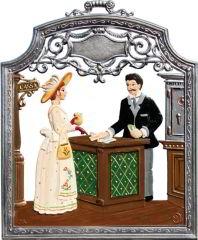 Zinnfigur Bankmitarbeiter, zum Hängen