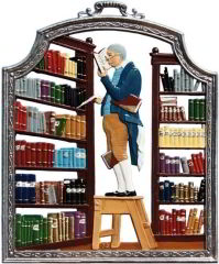 Zinnfigur Wilhelm Schweizer Bücherwurm, zum Hängen