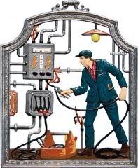 Zinnfigur Elektriker, zum Hängen
