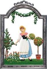 Zinnfigur Wilhelm Schweizer Juni Blumenmädel, zum Hängen