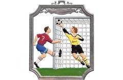 Zinnfigur Wilhelm Schweizer Wandbild Fußball, zum Hängen