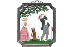 Zinnfigur Wandbild Golf, zum Hängen