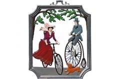 Zinnfigur Wilhelm Schweizer Wandbild Radfahren, zum Hängen