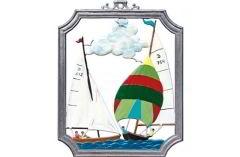 Zinnfigur Wandbild Segelsport, zum Hängen
