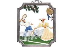 Zinnfigur Wilhelm Schweizer Wandbild Tennis, zum Hängen