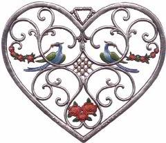 Zinnfigur Wilhelm Schweizer Herz mit Vögel, zum Hängen