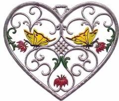 Zinnfigur Wilhelm Schweizer Herz mit Schmetterlingen, zum Hängen