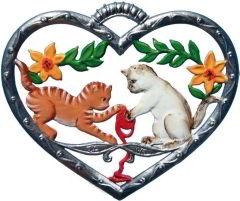 Zinnfigur Wilhelm Schweizer Herz mit zwei Kätzchen, zum Hängen