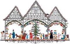 Zinnfigur Weihnachtsmarkt, zum Hängen
