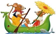 Zinnfigur Mäuse im Boot, zum Stellen